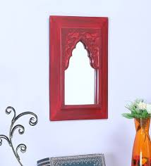 mango wood rectangle wall mirror in