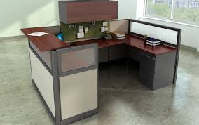 Kenosha office cubicles Furniture Warehouse Modern Standalone Work Cubicle With Reception Desk Glass Panels Hutch And File Cabinets In Bern Office Systems Discount Custom Cubicles Modern Office Cubicles Workstation