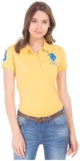 Buy U S Polo Assn Yellow Womens T Shirt Online Paytm Mall