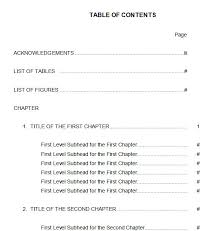 table of contents 5
