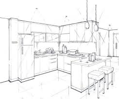 interior design kitchen drawings. Fine Interior Pin Drawn Kitchen Sketch 2 For Interior Design Drawings