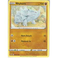 Rhyhorn runs in a straight line, smashing everything in its path. Pokemon Trading Card Game 096 202 Rhyhorn Common Card Sword Shield Base Set Trading Card Games From Hills Cards Uk