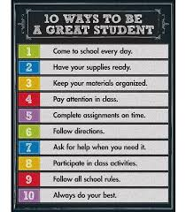 Classroom Decoration Charts For High School 10 Ways To Be A Great Student Chart Classroom Education