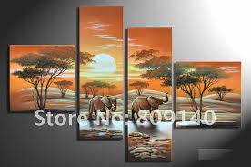 wall art for home office. oil painting decoration african landscape elephant modern art high quality handmade home office hotel wall decor free ship for r