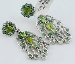hamsa earrings peridot sterling silver 925 emerald hand