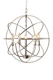 image of abbyson living silver chandler 5 light chrome orb chandelier