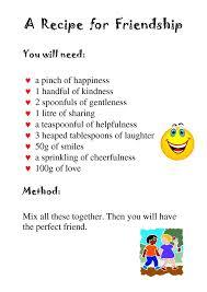 friendship recipe template. 24 Images of Friendship Poem Template netpeicom