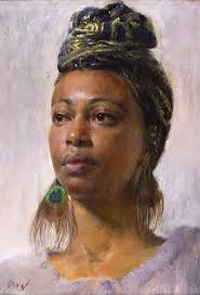 study of nedda mary qian oil on canvas contemporary figurative artist beautiful female head black woman face portrait painting