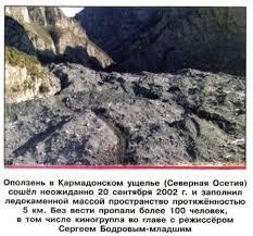 Оползни и обвалы их последствия Защита населения ОБЖ класс  Оползень в Кармадонском ущелье