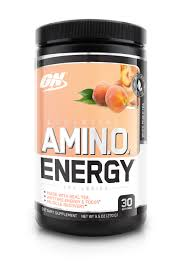 optimum nutrition amino energy white peach tea preworkout and essential amino acids with green
