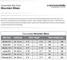 Cannondale Mountain Bike Frame Size Chart Cannondale Mountain Bike Size Chart Best Picture Of Chart