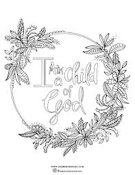 Free Coloring Page I Am A Child Of God Christian Coloring Page