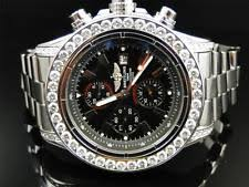mens breitling diamond watch mens 1 row breitling super avenger aeromarine 53 mm genuine diamond watch 10 ct