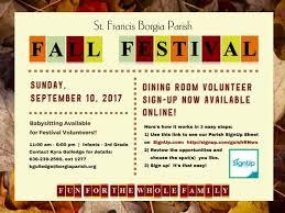 Easy Sign Up Sheet Fall Festival Sign Ups Made Easy Saint Francis Borgia