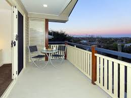 Awesome Elegant Balcony Deck Design Inspirations : Awesome Elegant Balcony  Deck Design With White Wooden Balcony Fence And Wooden Chair Tabl.
