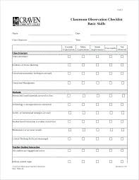 Teacher Evaluation Checklist Template Self Form Sample