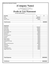 Profit Loss Template Excel Printable Profit And Loss Statement Format Excel Word Pdf