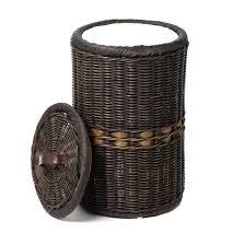 wicker garbage cans amazing outdoor patio trash can designs pertaining to 6