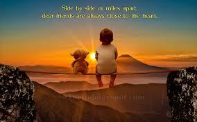 wallpaper of two friends teddy bear and little kid