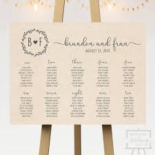 Rustic Wedding Seating Chart Sign Printable Kraft Brown Customized Pdf Horizontal Barn Reception Country Theme Eco Initials Digital