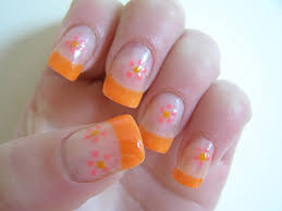 Nail art - bright orange tips with pink flower | here ive pa… | Flickr