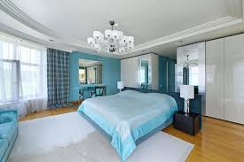 modern bedroom blue. Blue And White Bedroom Theme Modern Rug Silver Mirrors Walls D
