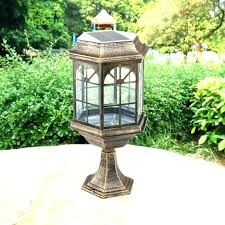 outdoor stone pillar lights lighting solar garden light series image column post lamp outd