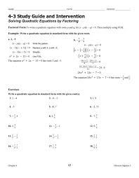 solving quadratic equations factoring worksheet answers 1 picture great