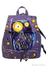 backpack leather handmade owl custom fair masters original backpack with owl print