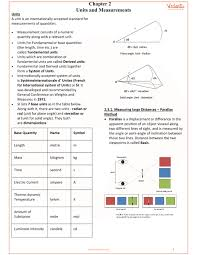 Physics 2 Formula Chart Class 11 Physics Revision Notes For Chapter 2 Units And