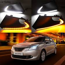 Baleno Back Light Price Us 53 0 20 Off Car Flashing 2pcs Led For Suzuki Baleno 2016 2017 Daylight Drl Daytime Running Lights Fog Lamp Cover With Yellow Turn Signals In Car