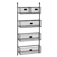 black metal wall shelf unit with 5