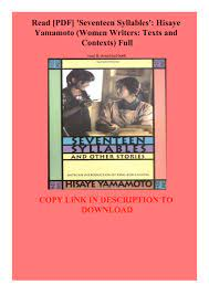 Read [PDF] 'Seventeen Syllables' Hisaye Yamamoto (Women Writers Texts and  Contexts) Full