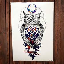горячее предложение распродажа арабский луны совы временная татуировка