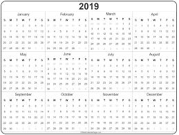 2019 Year Calendar Yearly Printable