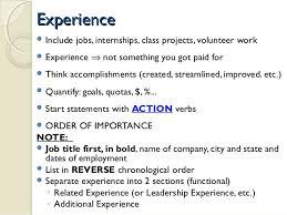 ... 15. ExperienceExperience  Include jobs ...