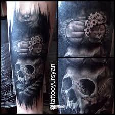 фото татуировки череп в стиле 3d авторский блэкворк татуировки на