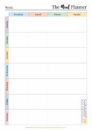Weekly Meal Plan Worksheet Weekly Meal Plan Printable Templates Template Excel Menu