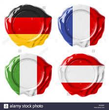 Germany, France, Italy, Austria national flag wax seals set isolated on  white Stock Photo - Alamy