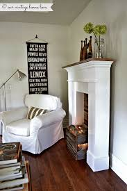 create a faux fire look use a crate or make a box from barn wood