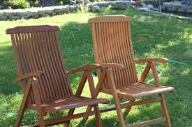 pair teak patio chairs with teak oil