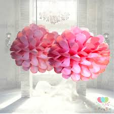 Paper Flower Balls To Hang From Ceiling Pink Tissue Paper Pom Poms Flower Decorations Ball Artificial Hanging Wedding Flowers Party Ceiling Decorations Ball Pom Pom Party Balls
