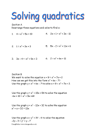 solving quadratic worksheet