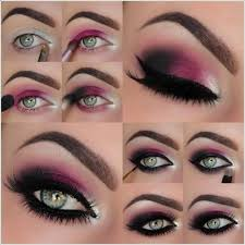 red and purple eye makeup idea for party