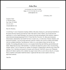 Special Education Cover Letter Examples Infinite Teacher Sample