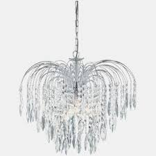 searchlight 66 waterfall crystal chandelier finished in chrome luminous collection 48 wide