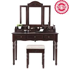 vanity table set tri folding necklace hooked mirror 7 drawers 6 organizers