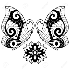 Flower And Butterfly Stencil Designs Hand Drawn Black And White Butterflies With Flowers Design Elements
