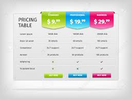 Plan Comparison Chart Pricing Table Template For Business Plan Comparison Chart