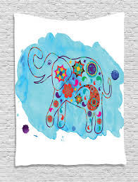 elephant tapestry asian thailand elephant colored in paisleys aqua background watercolor nature wall hanging for bedroom living room dorm decor